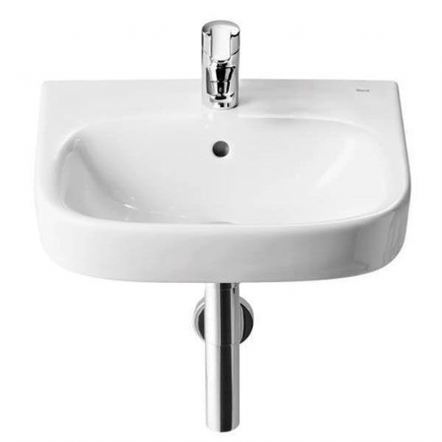 Roca Debba Square Cloakroom Basin - 450mm - 1 Tap Hole - White